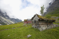 Norway, Fjord Norway, Erdal, Old cabins