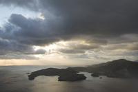 Greece, Ionian Sea, Ithaca, Thunder clouds over shoreline