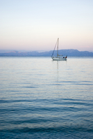 Greece, Ionian Sea, Ithaca, Sailboat with sails down