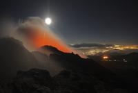 Guatemala, Pacaya, active volcano with full moon