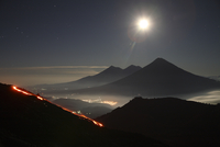 Guatemala, Pacaya volcano, lava flow and full moon