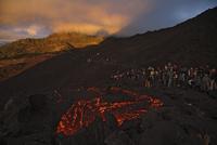 Guatemala, Pacaya volcano, Lava flow, spectators