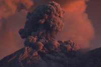 Indonesia, East Java, Semeru volcano, Ash eruption