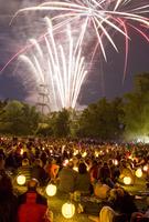 Germany, Baden-W??rttemberg, H?¶henpark Killesberg, People watching fireworks