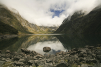 New Zealand, Mountain lake with stony shore