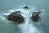 New Zealand, Boulders in the sea, elevated view