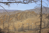 Mongolia, Settlement in mountain scenery