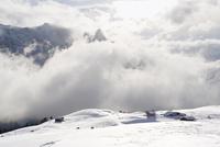 Italy, South Tyrol, Seiseralm, Snowy landscape
