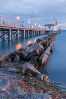 Germany, Lake Constance, Hagnau, Pier shelter at evening