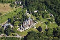 Europe, Germany, North Rhine-Westphalia, Siebengebirge, Aerial view of Castle Drachenburg and Dragon's Rock