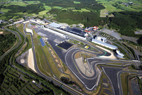 Germany, Rhineland-Palatinate, Nuerburgring, Aerial view of racetrack