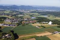 Europe, Germany, North Rhine-Westphalia, Middle Rhine, Siebengebirge, Wachtberg, Aerial view of Radome at village landscape