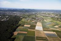 Europe, Germany, North Rhine-Westphalia, Middle Rhine, Siebengebirge, Siebengebirge, Wachtberg, Bad Godesberg, Aerial view of fi