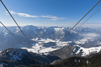 South Germany, Upper Bavaria, Bayrischzell, View of Wendelstein cable car with Mangfall mountains and Bavarian Prealps in backgr