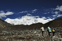 Asia, Nepal, Eastern Region, Tourist at cho oyu mountains