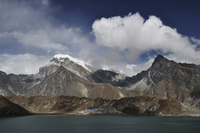 Asia, Nepal, Eastern Region, View of mountian ranges with gokyo lakes
