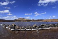 Africa, Cape Verde, Sal, View of salt on stones in salt lake