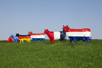 Austria, Lower Austria, Oed-??hling, View of cow sculpture painted with national flag