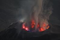 Guatemala, Santiaguito volcano erupting