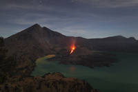 Indonesia, Lombok, Rinjani volcano at crater lake