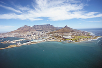 South Africa, Cape Town, Aerial view of city on island