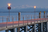 Germany, Hagnau, Lake Constance, View of pier at dusk