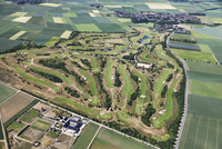 Europe, Germany, North Rhine-Westphalia, Fliesteden, Aerial view of golf course