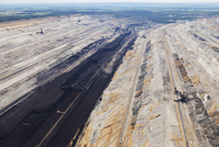 Europe, Germany, North Rhine-Westphalia, Garzweiler, Aerial view of lignite mining with spreader