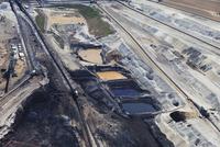 Europe, Germany, North Rhine Westfalia, Inden, Aerial view of lignite mining