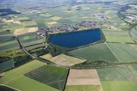 Europe, Germany, North Rhine Westfalia, Zuelpich, Aerial view of Neffel lake