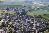 Europe, Germany, North Rhine Westfalia, Zuelpich, Aerial view of town