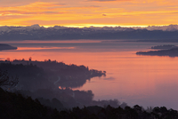Germany, View of Lake Constance and Swiss Alps at morning twilight