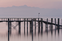 Germany, Meersburg, View of old bridge at morning twilight