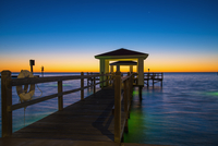 USA, Texas, Rockport, Fishing pier at Gulf of Mexico