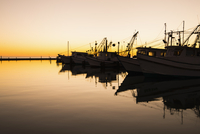 USA, Texas, Rockport Fulton marina at sunet