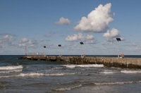 Poland, Old pier with solar panels at Niechorze