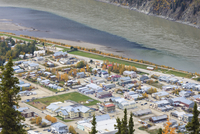 Canada, View of Dawson City with Yukon River from Midnight Dome