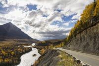 USA, Alaska, View of Matanuska River and King Mountain
