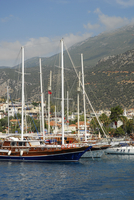 Turkey, Antalya, Sailing boats in harbour of Kas