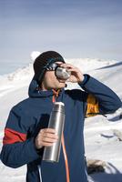 Austria, Man drinking tea