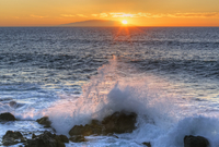 Spain, View of Hierro Island at sunset