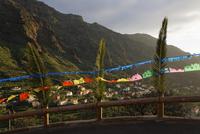 Spain, La Gomera, Festive decoration on  railing at Upper Valle Gran Rey