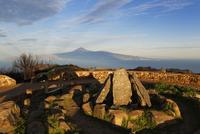 Spain, La Gomera,  Reconstruction of ritual place at peak of Alto de Garajonay