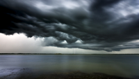 USA, Florida, Lightning and storm clouds at Titusville