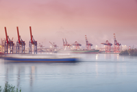 Germany, Hamburg, Container harbour at Elbchaussee