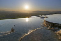 Turkey, View of Travertine terraces of Pamukkale