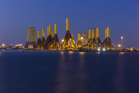 Germany, Bremerhaven, Tripods at construction site