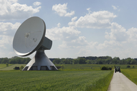 Germany, Bavaria, View of Satellite dish at Raisting