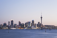 New Zealand, Auckland, View of city during sunset