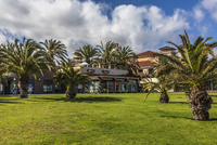 Spain, Gran Canaria, View of Park in Meloneras near lighthouse